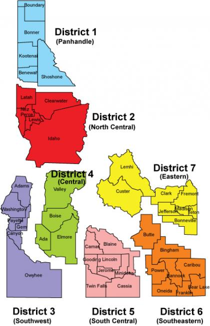 Map of Idaho Public Health Districts