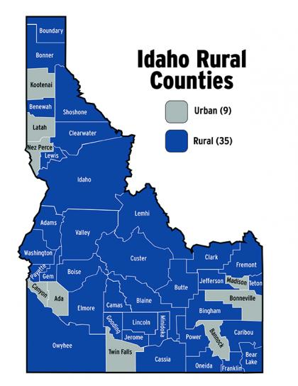 Map of Idaho's rural and urban counties